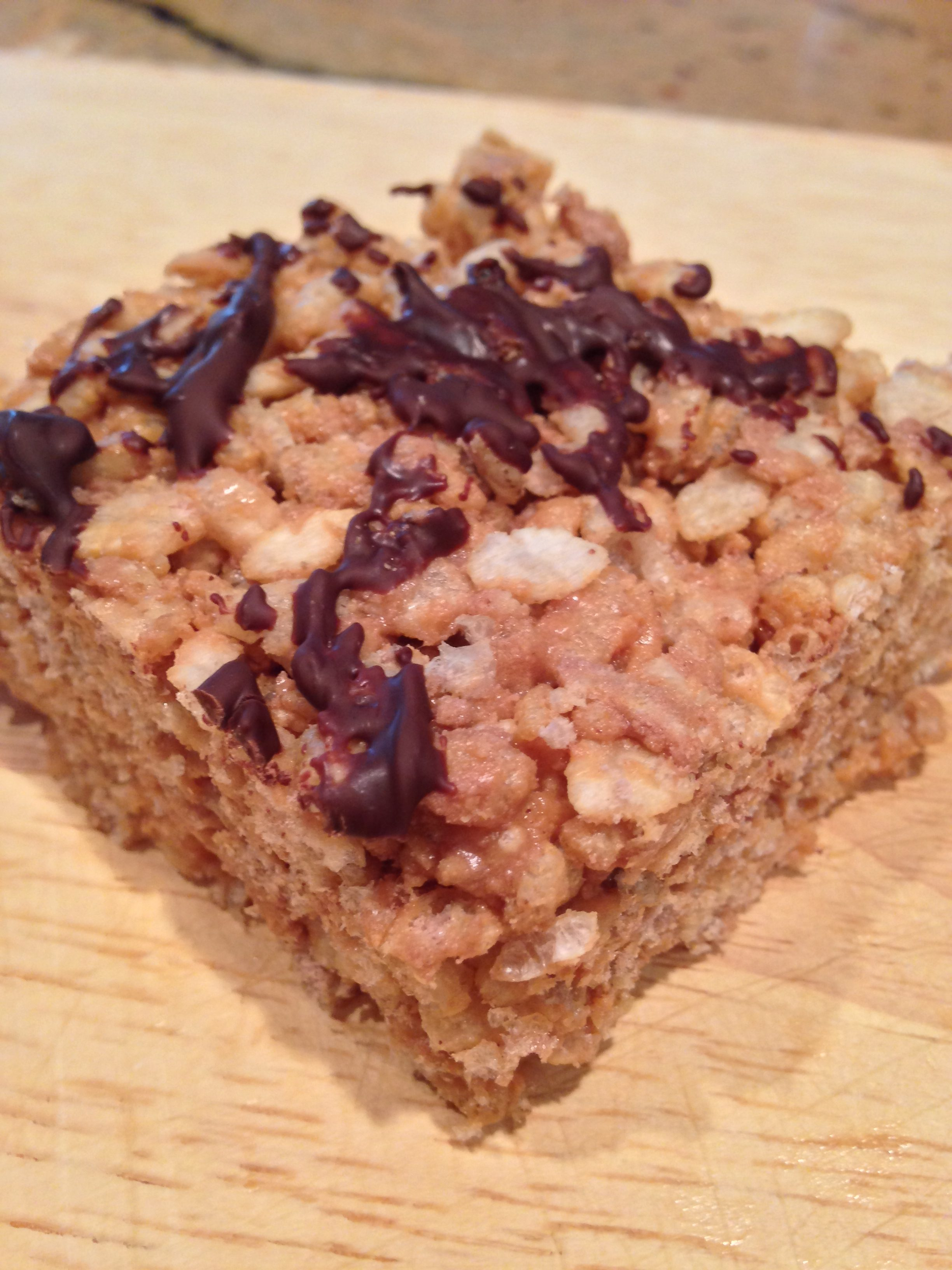 Chocolate peanut butter protein rice krispie treats using About Time protein