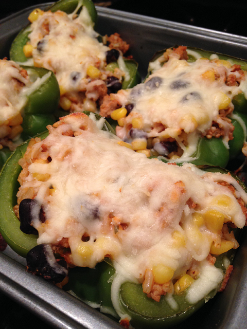 green stuffed peppers with cheese