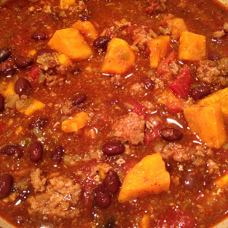 sweet potato turkey chili with beans