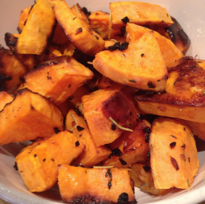 garlic roasted sweet potatoes in a bowl