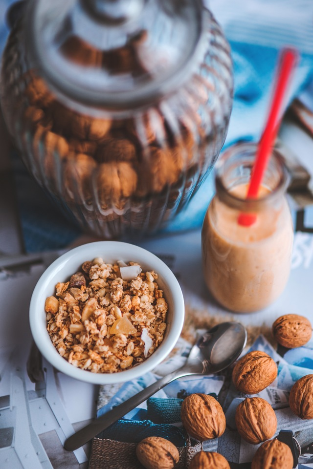 granola and nuts in a bowl