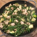 Pesto Chicken, Zucchini, and Green Bean Skillet