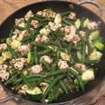 Pesto Chicken, Zucchini, and Green Bean Skillet