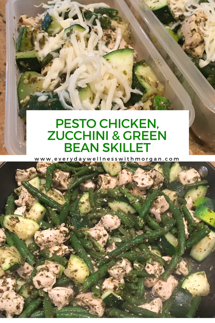 Pesto Chicken, Zucchini & Green Bean Skillet