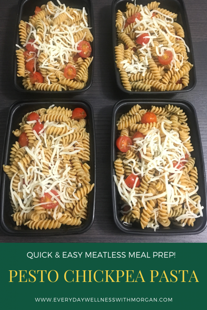 Pesto chickpea pasta meal prep! A high protein, meatless meal