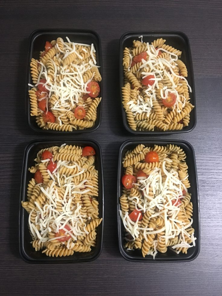 Pesto Chickpea Pasta (high protein, meatless meal prep)