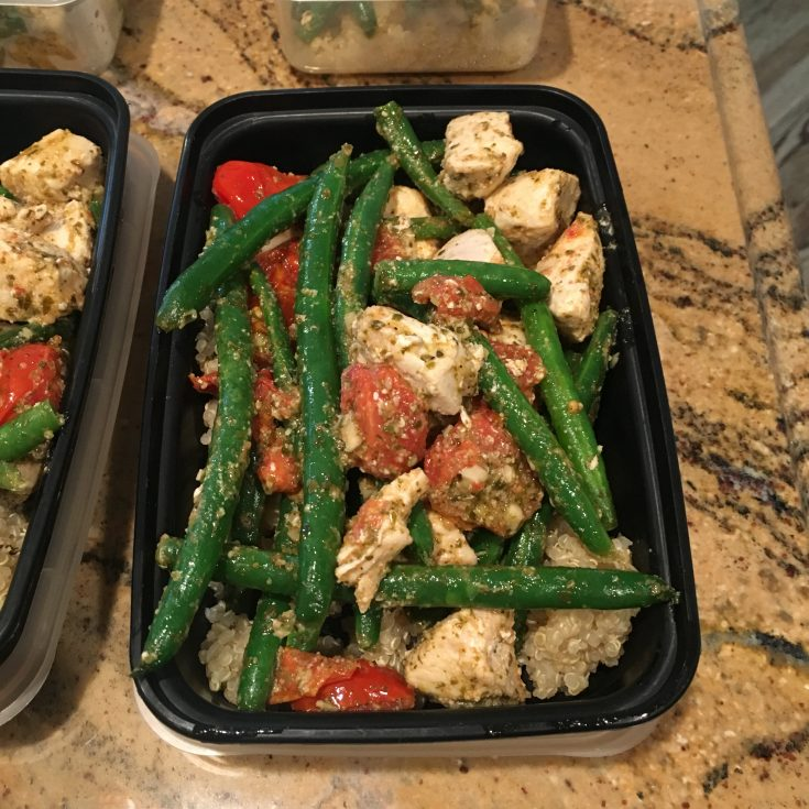 Pesto Chicken, Green Bean, and Tomato Skillet